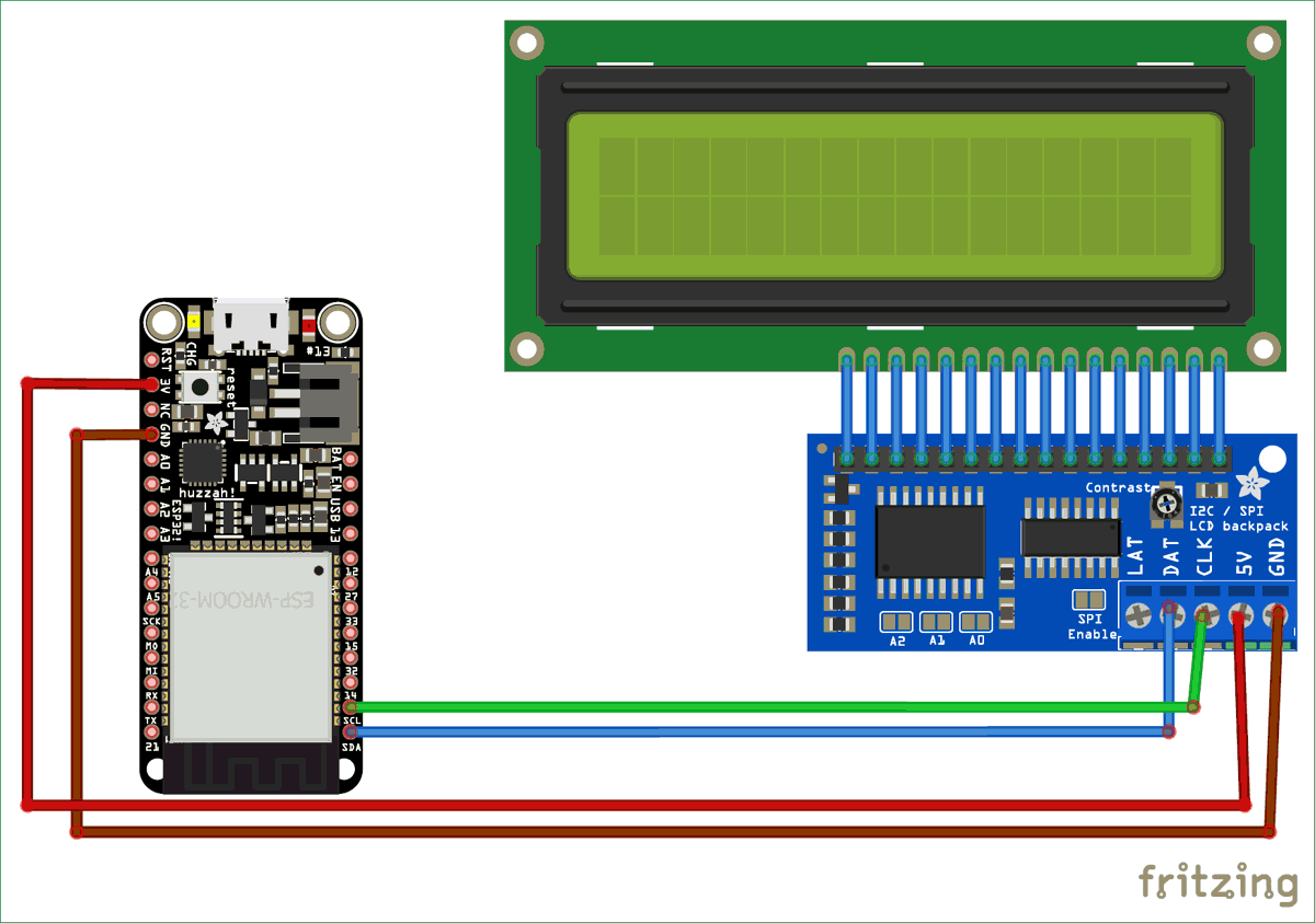circuit diagram for interfacing 16x2 lcd with esp32 using i2c [ 1200 x 843 Pixel ]