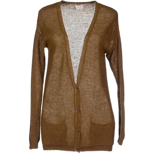 Pomandère Cardigan ($94) ❤ liked on Polyvore featuring tops, cardigans, khaki, v neck cardigan, long sleeve v neck cardigan, long sleeve tops, v-neck tops e brown v neck cardigan