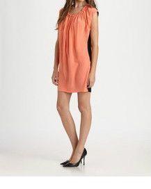 ROBERT RODRIGUEZ Coral and Black Silk Evening Dress: Sz 10 M L $385 NWT