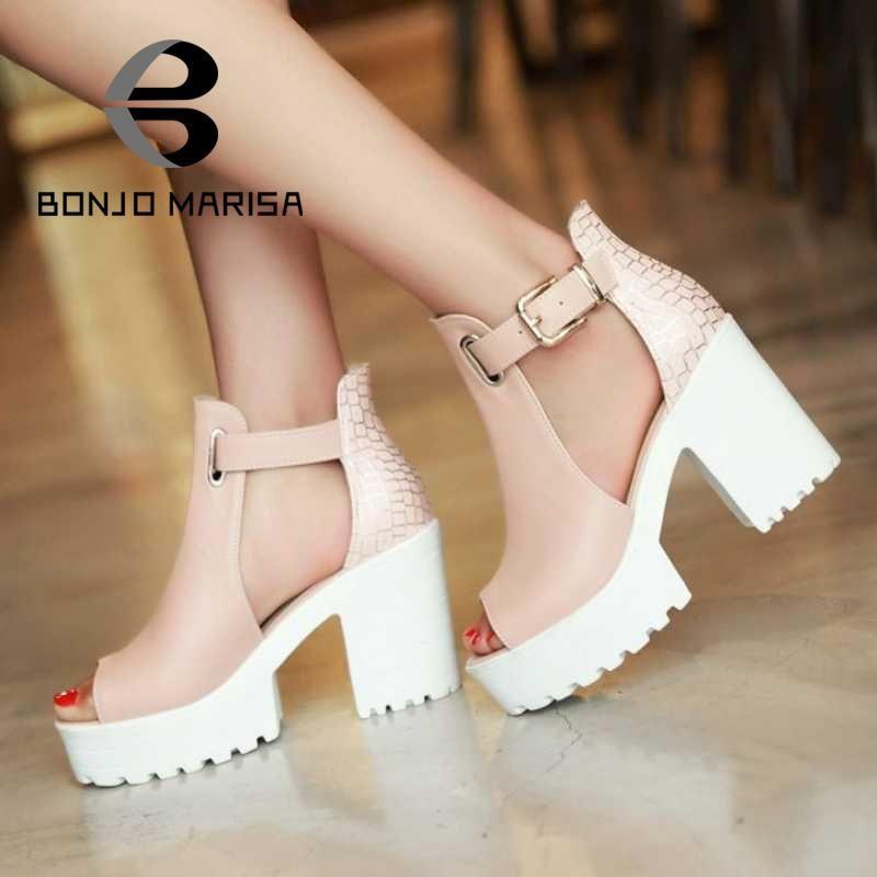 68e0ca3f1c0f1e Pas cher Grande taille 34 43 femmes gladiateur sandales Vintage Design  cheville sangles ouvertes Toe chaussures d'été épais haute talons plate  forme ...