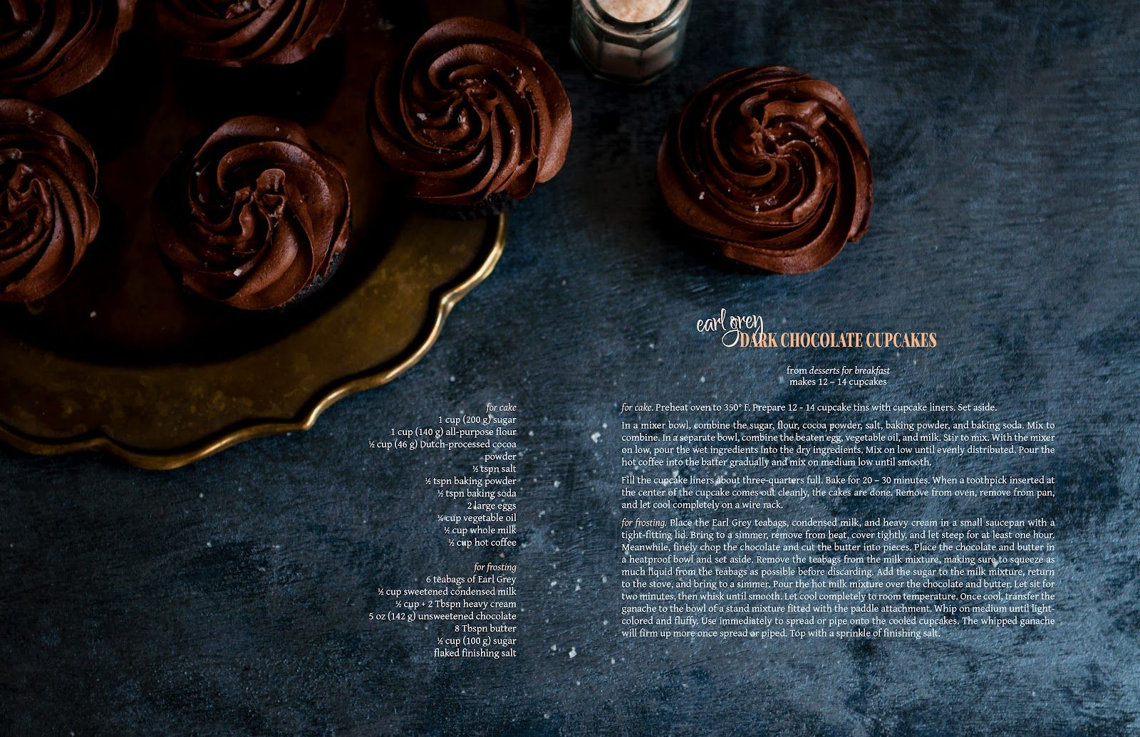 Desserts for Breakfast: Announcing sated magazine! and Earl Grey Dark Chocolate Cupcakes.