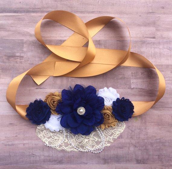 cd7424436aa Royal Blue and Gold Maternity Sash