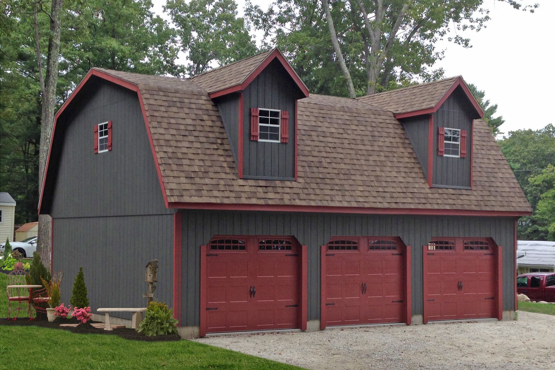 Amish Built Attic Car Garage With Loft Space: Three Car Garages For Sale