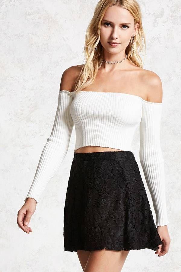 4e1aec7cd8fc Forever 21 White Lace Skirt, Lace Mini Skirts, White Skirts, Circle Skirts,
