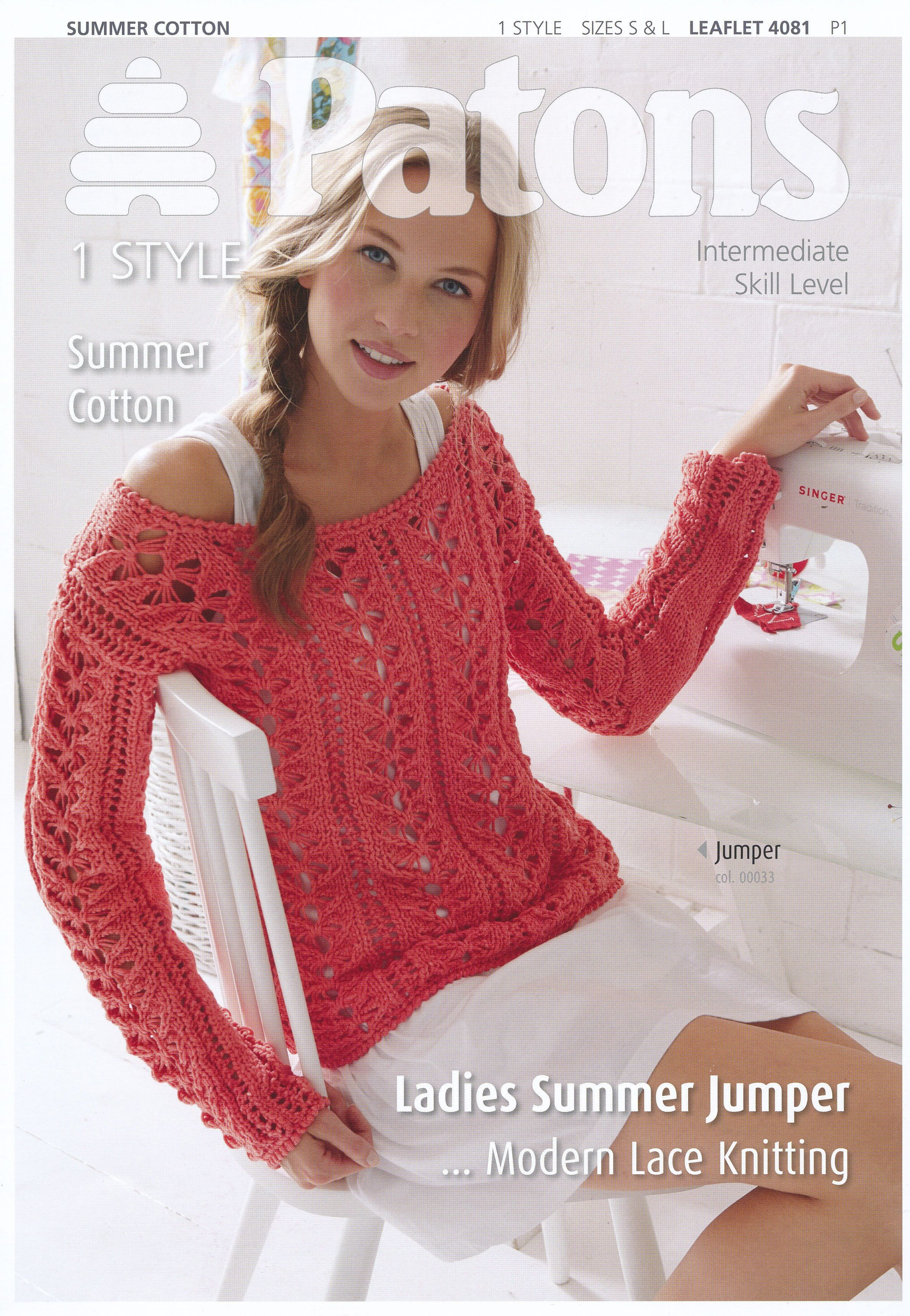 Ladies Summer Jumper in Patons Summer Cotton (4081) | Knit and ...
