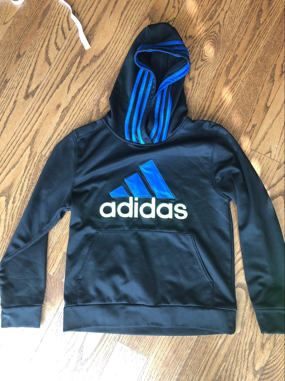 Boys 10 12 Adidas Sweatshirt Dark Gray W Royal Blue Stripping Adidas 10 12 Is Considered A Medium Mercari Considers Adidas Sweatshirt Adidas Tops Sweatshirts [ 1500 x 1122 Pixel ]