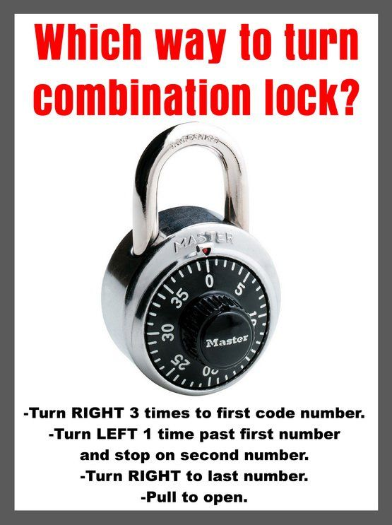 Which Way To Turn A Combination Lock To Open Right Left Right Combination Locks Turn Ons Lock