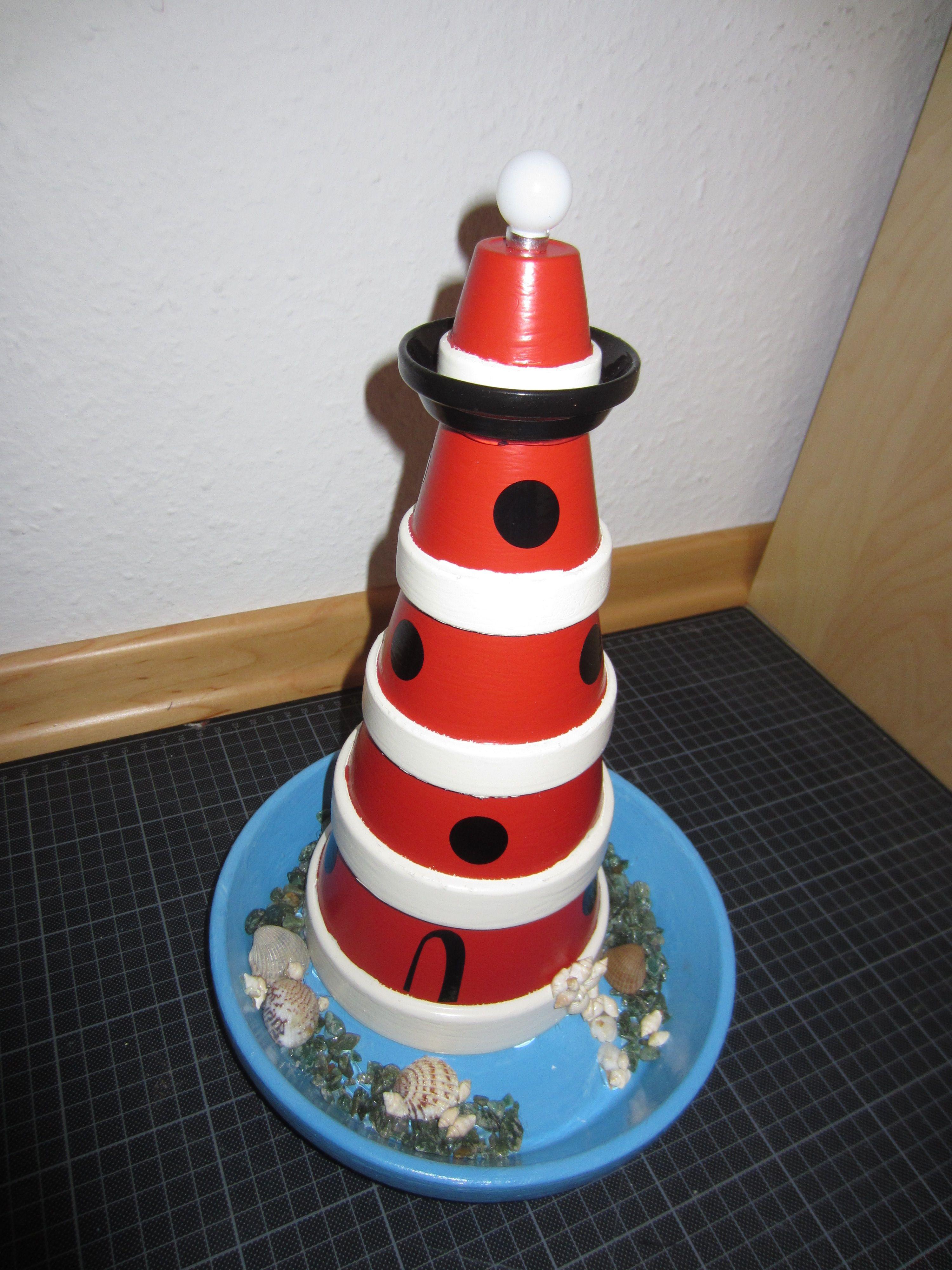 Dekoration aus tont pfen leuchtturm aus tont pfen for Leuchtturm basteln