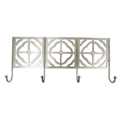 Home Decorators Collection 16 in. Decorative 4-Hook Rail in Satin Nickel-97805SNBHD - The Home Depot