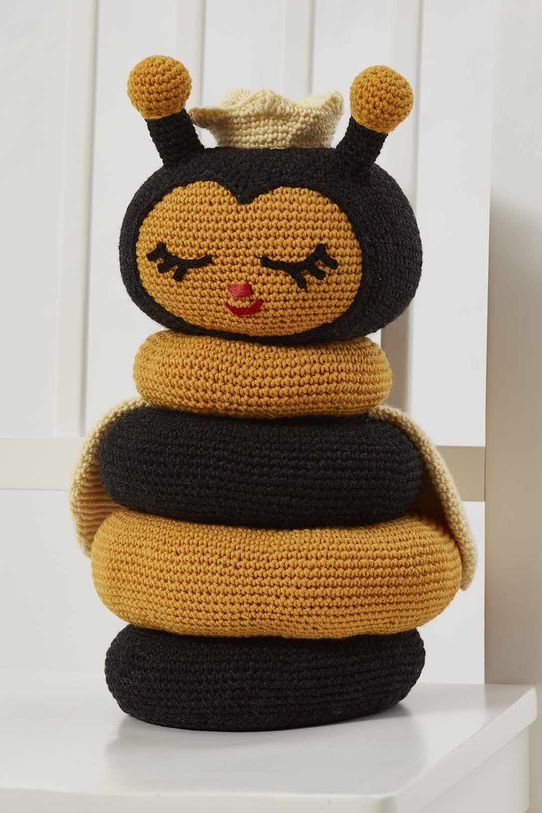 Bee Baby Gift DIGITAL DOWNLOAD Toy Pattern Stacking Toy Knitting Pattern Baby Shower Gift Knitted Bee Stackable Ring Toy Knit Toy