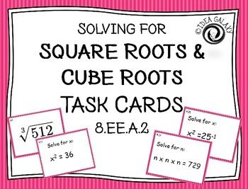 Square Roots & Cube Roots Task Cards | 8th Grade Common Core