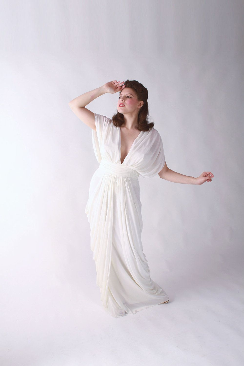 Vintage goddess dress incredible s does s draped jersey