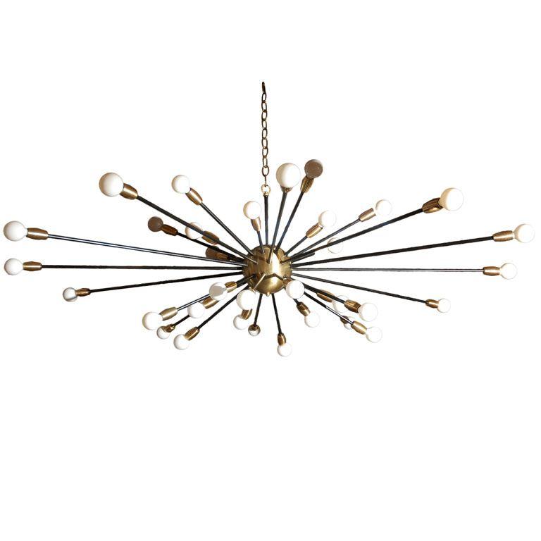 36 Light Brass Sputnik Light Fixture.