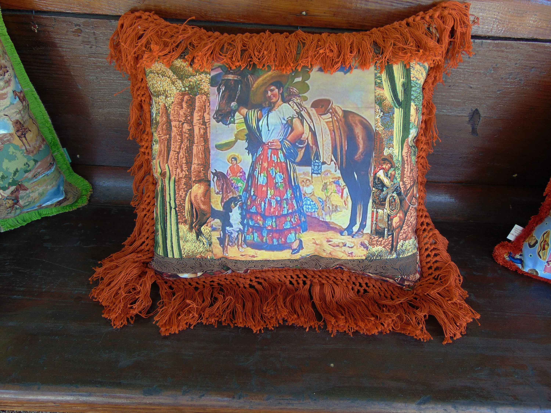 Rancho romantico southwest pillow design mexican cowgirl senorita