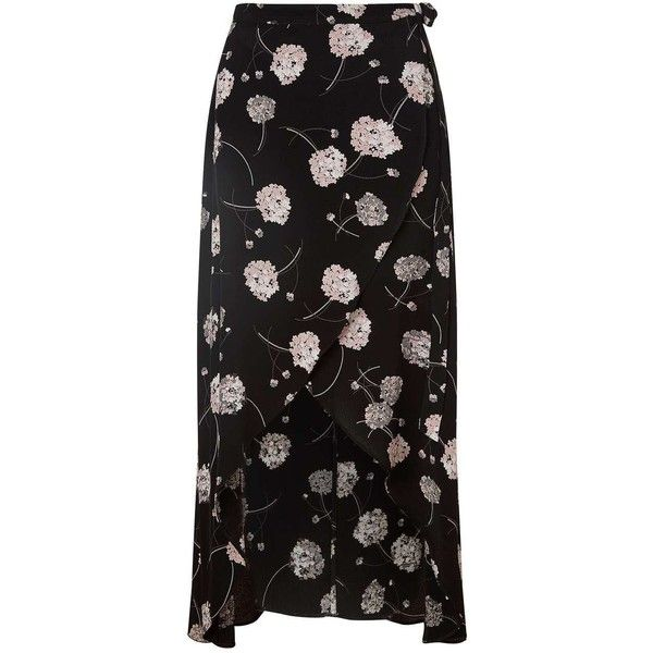 Miss Selfridge Petites Blossom Wrap Skirt ($35) ❤ liked on Polyvore featuring skirts, black, petite, floral maxi skirt, petite maxi skirt, petite long skirts, floral print maxi skirt and floral skirt