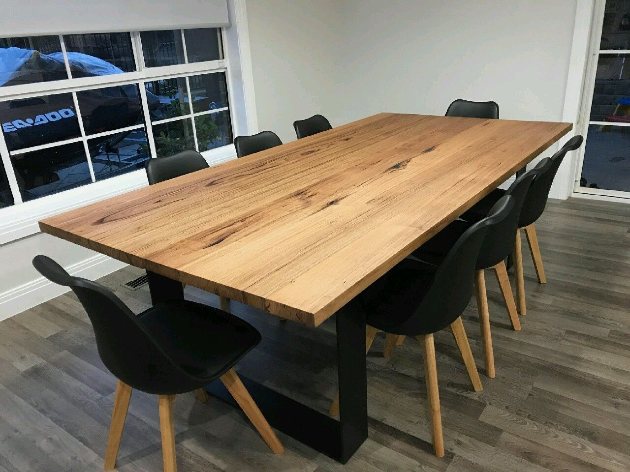 Recycled Messmate Dining Table With Black Flat Bar Metal Legs