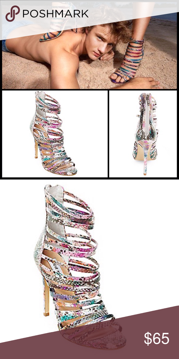 STEVE MADDEN 🍭 Drexton Sandals NIB DETAILS The DREXTON is a strappy peep-toe stiletto that demands attention.  This sexy leather heel features a multicolored snake print upper that adds pizazz to your night out.  Leather upper material Man-made lining Man-made sole 4.25 inch heel height Functional back zipper Steve Madden Shoes