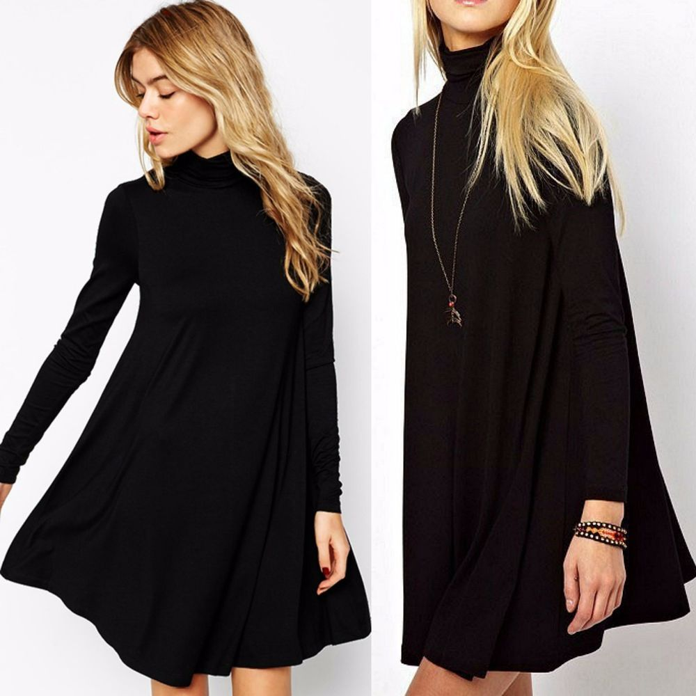Turtleneck Swing Dress Long Sleeve Casual Ladies Dress or Tunic SOLID BLACK  S-L  WeekendinVegas  SwingDress  Casual e7e476e8d1