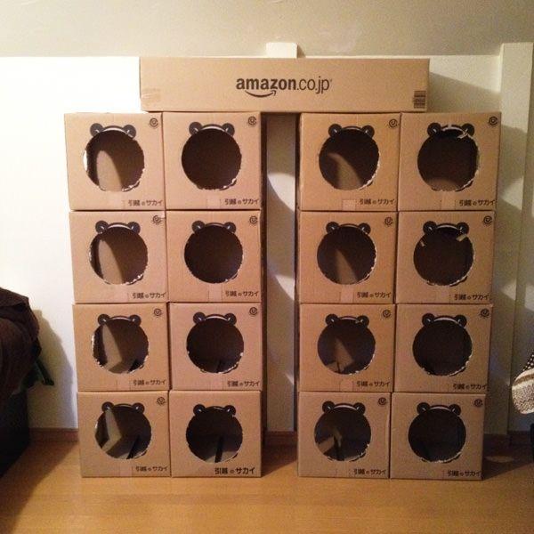 引っ越しをしたときに大量に使用したパンダのダンボールを使ってキャットタワーを作りました キャットタワー キャットタワー 手作り 猫 トイレ おしゃれ