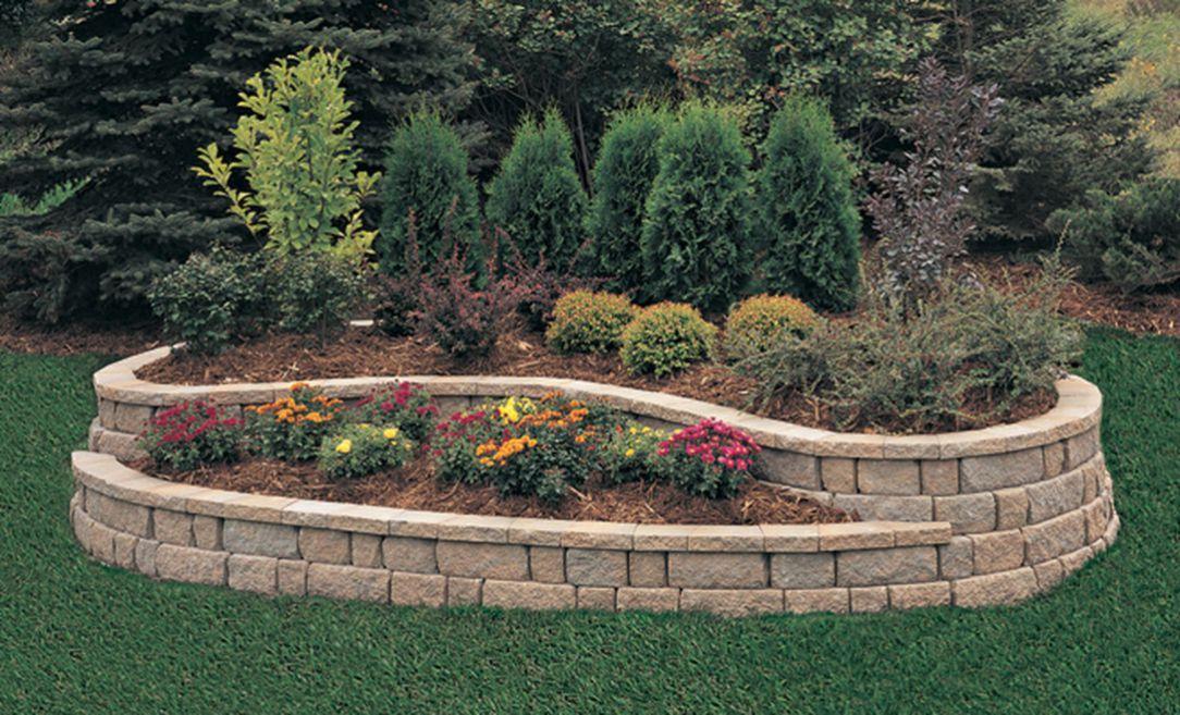 Beautiful Raised Flower Bed Stone Border 16 Landscaping