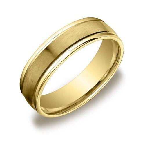 Gold Ring Yellow Gold Wedding Band 14k Yellow Gold Mens Wedding Band Satin Polished Flat Mans Ring 6mm Plain Wedding Band With Satin Center Mens Yellow Gold Wedding Bands Mens Wedding
