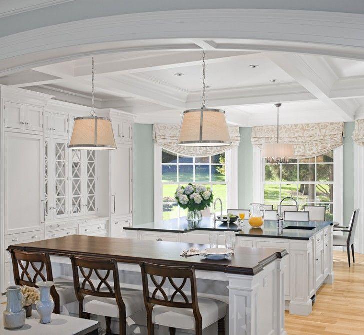 White kitchen, paneled ceiling, lighting.  Plum Interiors - Interior Design by Eileen Marcuvitz - Lincoln, MA & Newport, RI | Boston Design Guide