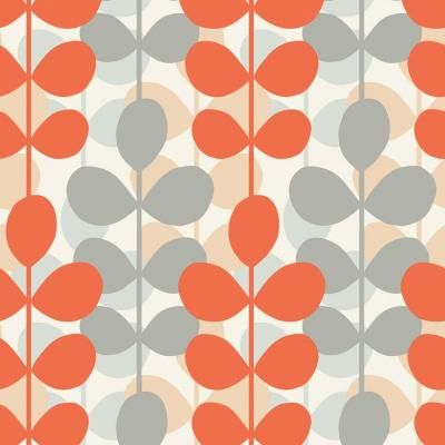 The Wallpaper Company 56 Sq Ft Orange And Grey Retro Modern Leaf Stripe Wallpaper Wc1280104 Retro Wallpaper Wallpaper Samples Pattern Wallpaper