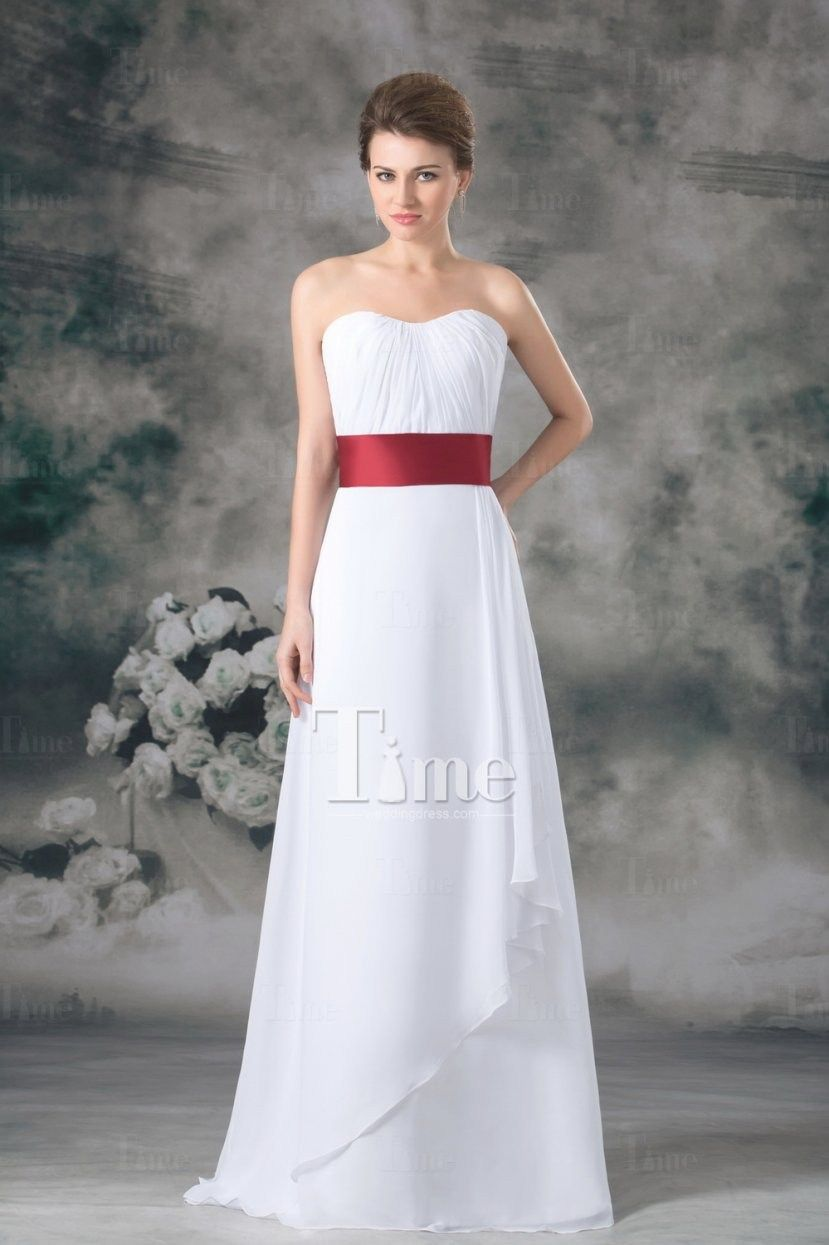 a050be4546 Princess A Line Simple White Beach Wedding Dresses Red Belt Two Intended  For White Wedding Dress With Red Sash by thisbestidea