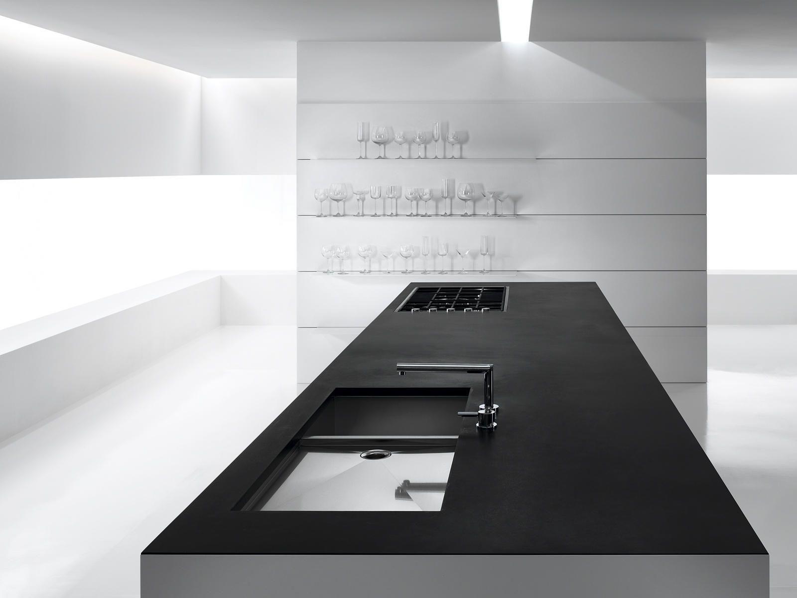 puristic interior design in black | kitchen . Küche . cuisine ...
