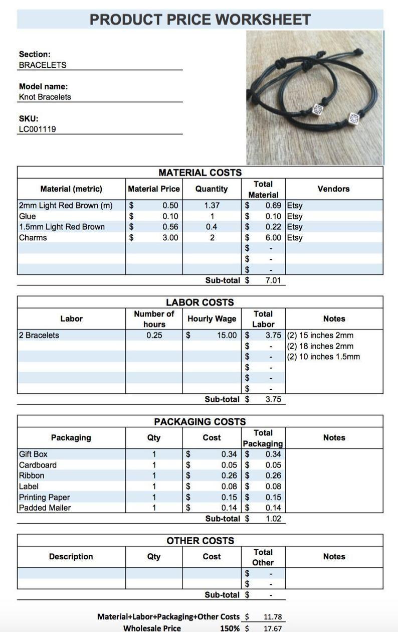 Price Etsy Seller, Product Price Worksheet, Pricing