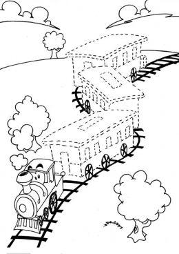 Раскраска Поезд по точкам | Раскраски, Детские раскраски ...