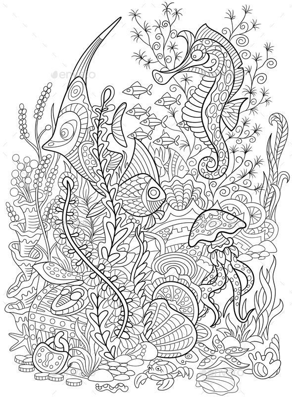 Freehand Sketch Drawing For Adult Antistress Coloring Book In Zentangle Style Black And White Ornamental Vector Illustration