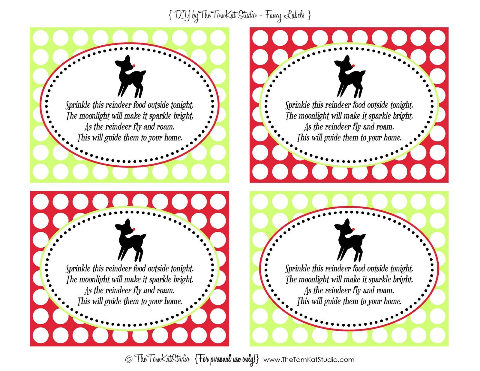 Free Printables Reindeer Food Tags
