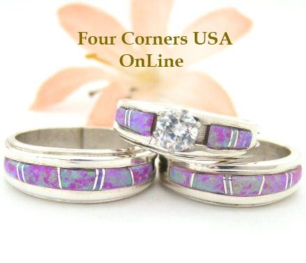 Pink Fire Opal Inlay Bridal Engagement Wedding Ring Sets