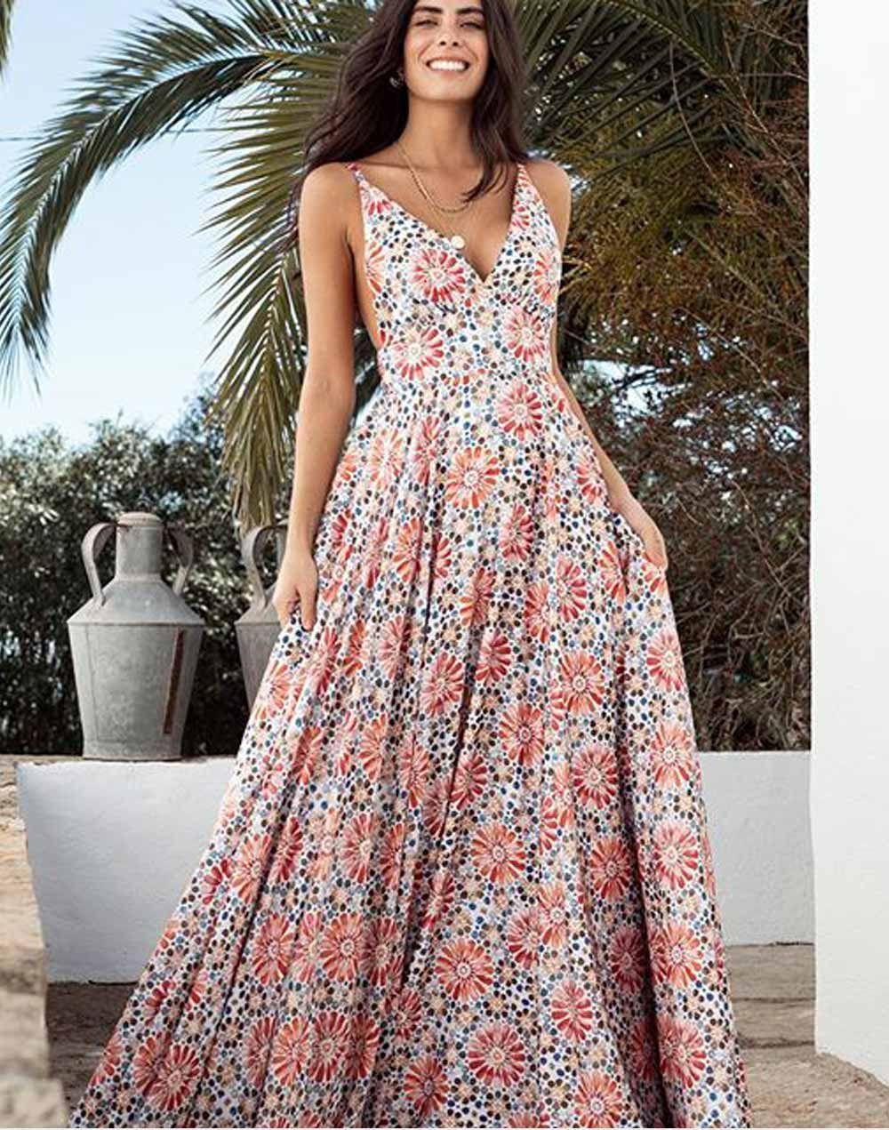 b034643a8 Vestido de fiesta largo estampado de flores en varias tonalidades de ...