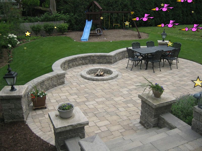 brick patio with fire pit | view source | more brick paving ... - Outdoor Patio Design