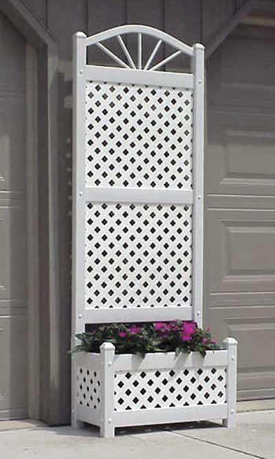 Dura Trel Sunburst Planter Trellis With Lattice White 78 H