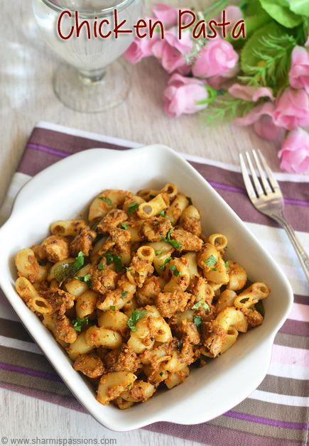 Chicken Masala Pasta Recipe Indian Curry Pasta Recipes Sharmis Passions Pasta Recipes Indian Iftar Recipes Curry Pasta