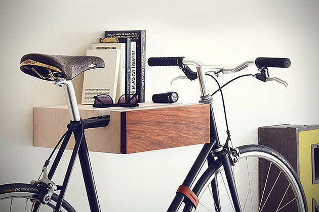 Bike Valet A Stylish Wall Mounted Bike Rack Wallethero Wall Mount Bike Rack Wood Bike Rack Bike Wall Mount