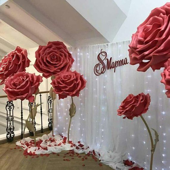Paper Flowers For Weddings: Giant Flower White Paper Rose, Giant Rose Bridal Bouquet