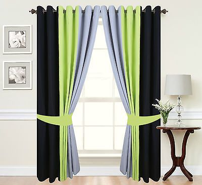 Eyelet Curtains Ring Top Fully Lined Pair Ready Made 3 Tone Lime Green Green Curtains Living Room Green Living Room Decor Lime Green Bedrooms