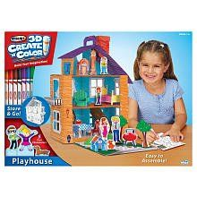 RoseArt 3D Create 'n Color Playhouse by RoseArt. $16.95. Build! Color! Play!! with the RoseArt 3D Create 'n Color Playhouse. This easy to assemble corrugate Dollhouse that measures 18 x 21 x 9 inches includes over 70 accessories to decorate your house. Over 50 color-your-own stickers! Over 10 dimensional printed furniture items! 5 fun standing characters! 2 Mini glitter glue tubes and 8 Washable markers!. Build! Color! Play!! with the RoseArt 3D Create 'n Color Playh...