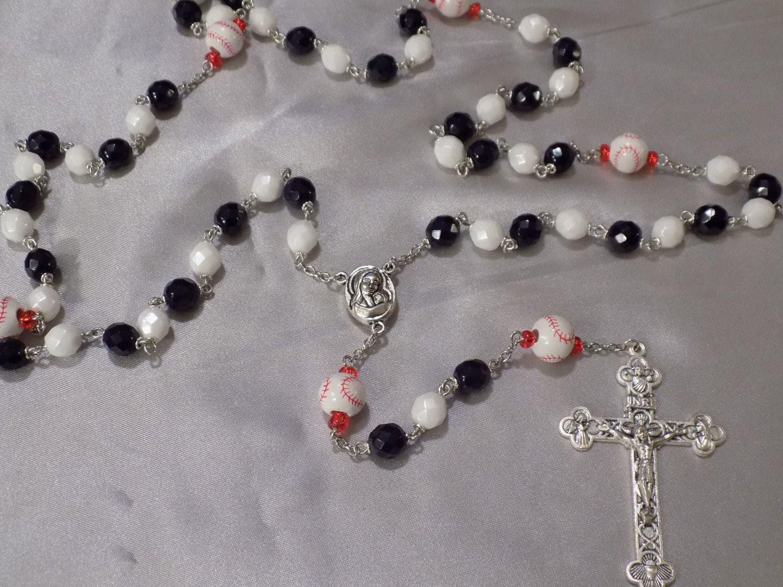 Baseball Rosary - Czech Navy Blue & White Glass Beads - Peru Ceramic Baseballs - Soil from Jerusalem Center - Italian Silver Crucifix Rosary