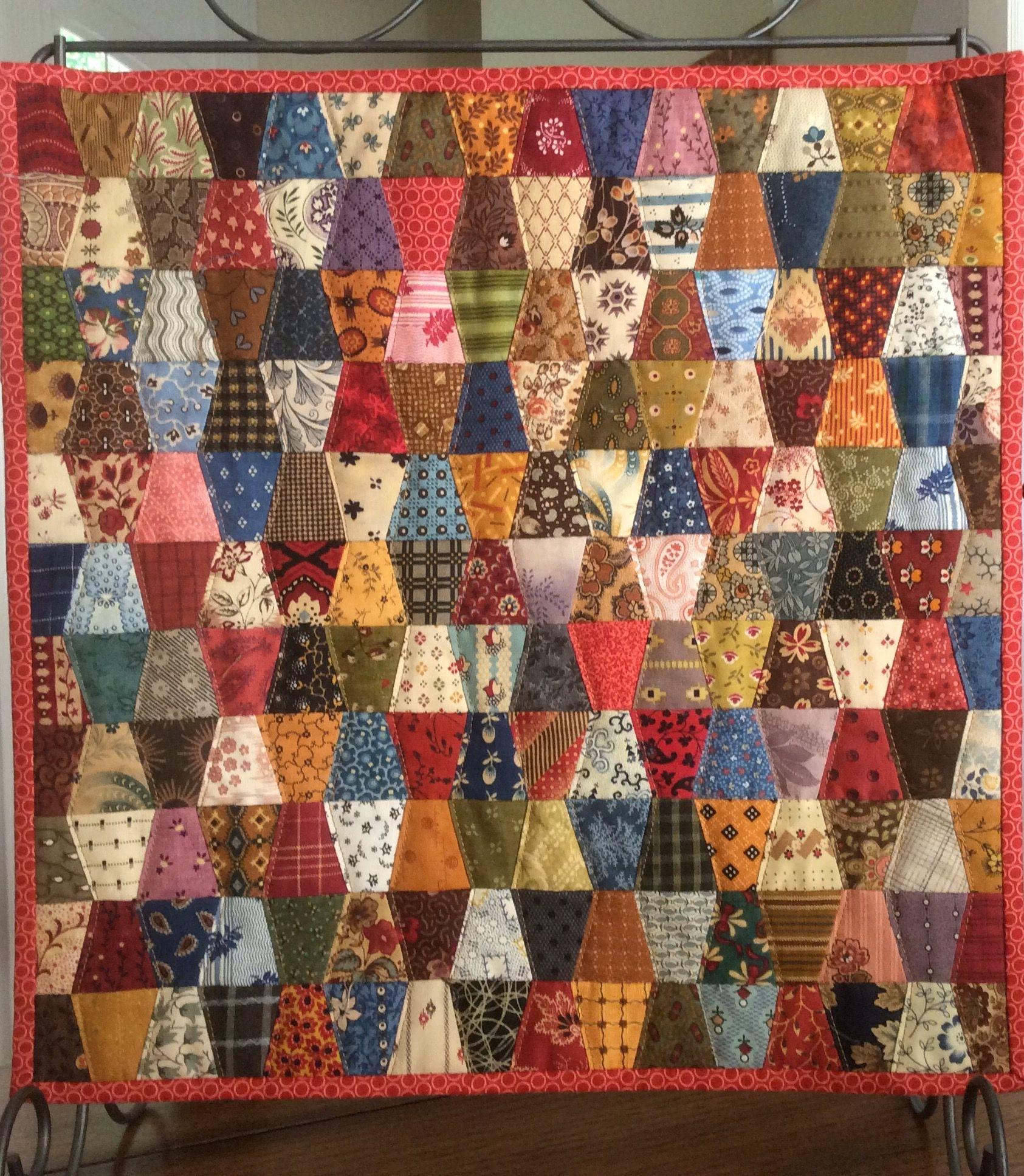 Tiny Tumbler Charm Quilt 176 Different Fabrics 13x14