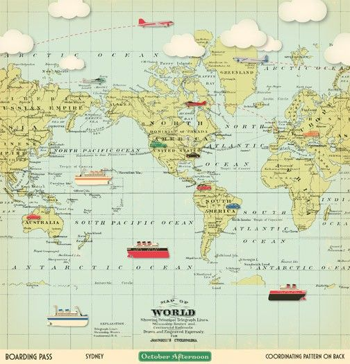 world map scrapbook paper with boats, planes, cars and trains