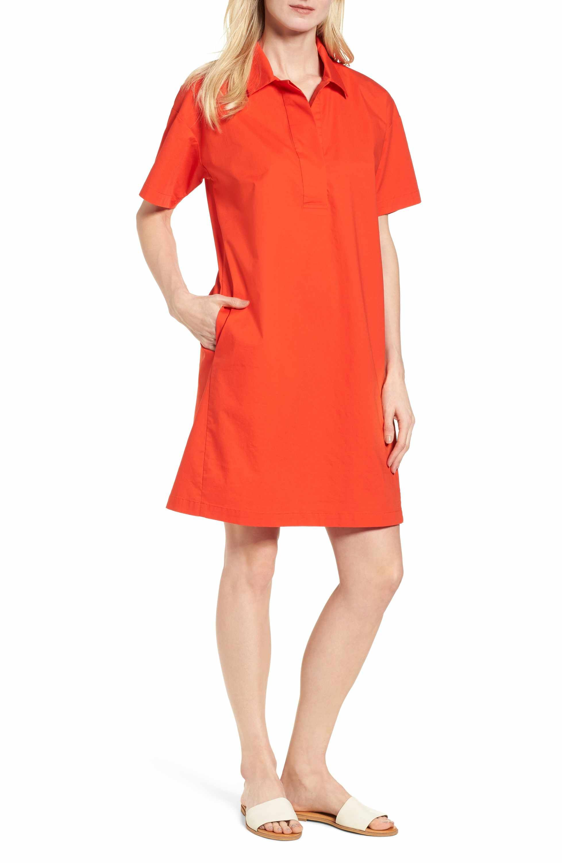 Main Image Eileen Fisher Organic Cotton Poplin Shirtdress Regular