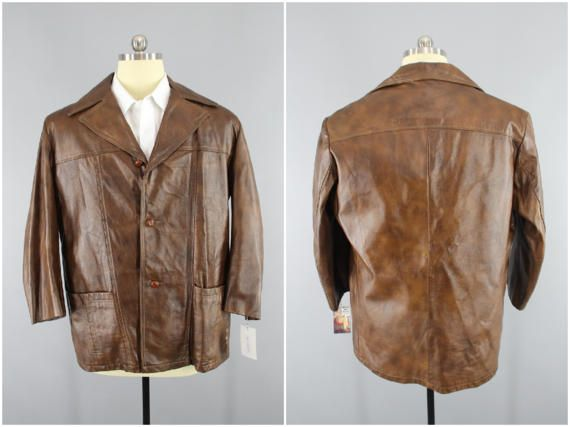 1169dd54b Vintage 1970s Leather Coat / 70s Men's Car Coat / REED / Brown ...
