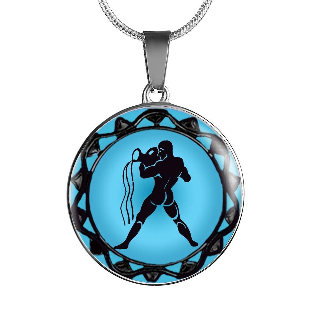 Aquarius blue zodiac sign pendant necklace aquarius zodiac and