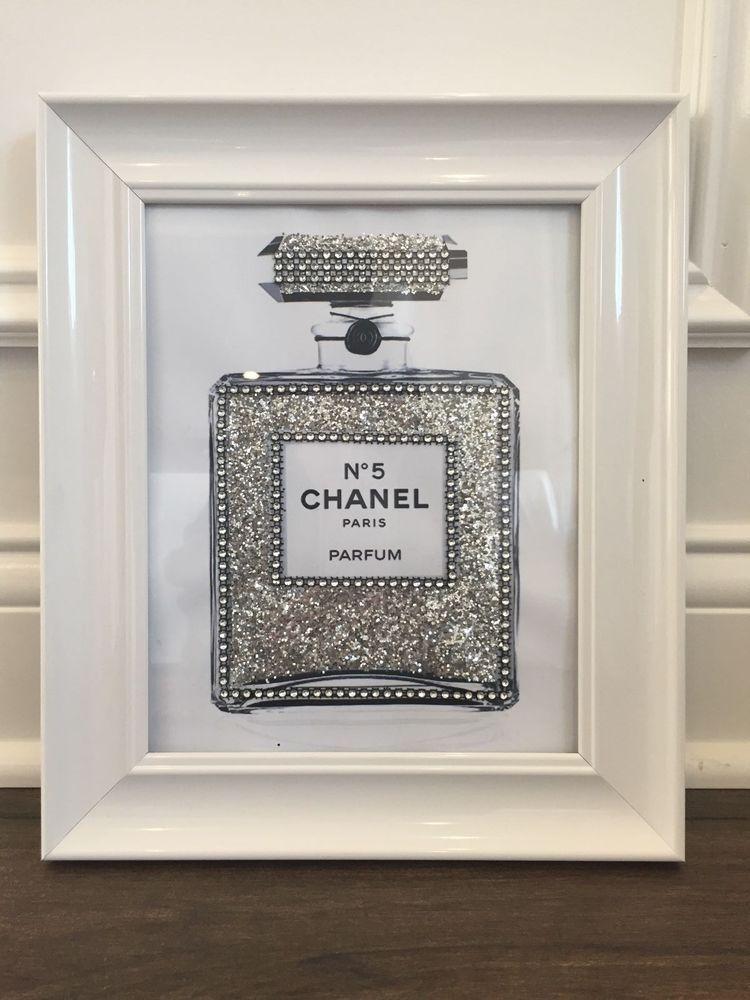 Silver Framed Chanel No 5 Perfume Bottle Silver Glitter