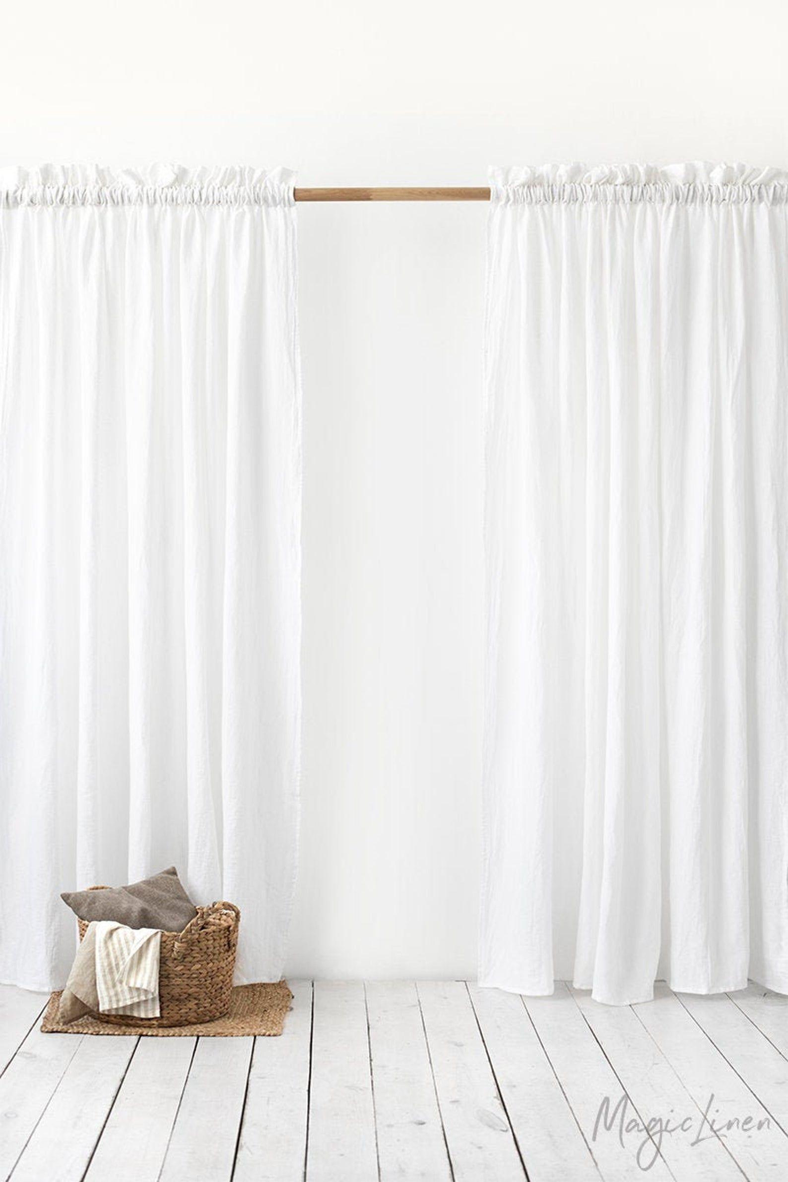Rod Pocket Linen Curtain Panel With Decorative Header Custom Sized Door Window Curtain In 2020 Linen Curtain Panels Linen Curtains Panel Curtains